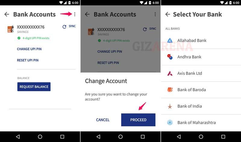 BHIM-Change Bank Account