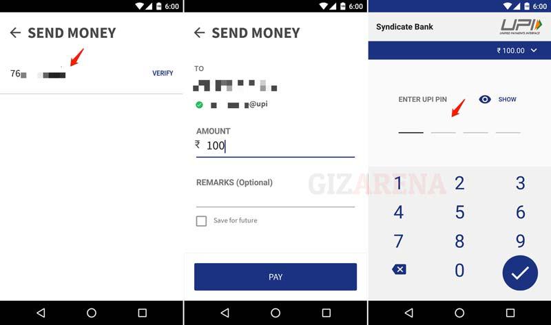 BHIM-Sending Money Using VPA