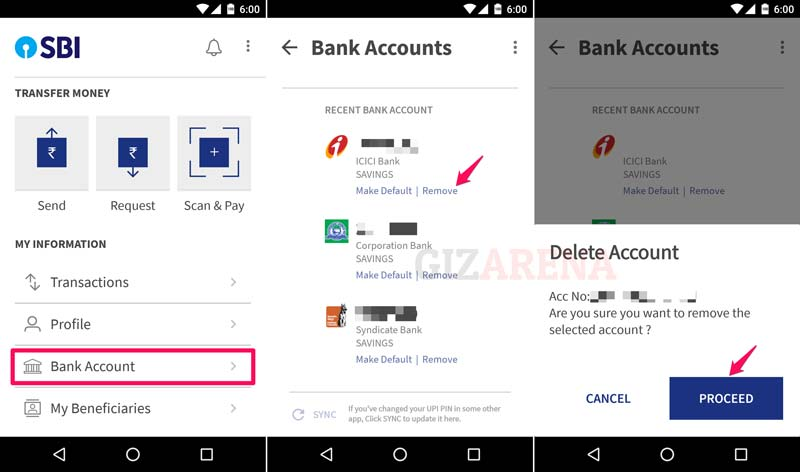 Delete Bank Account From BHIM App