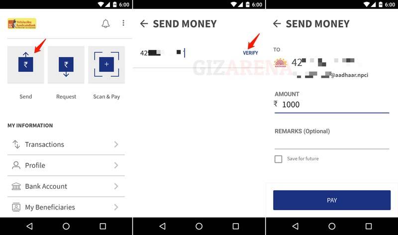 BHIM-Pay Using Aadhar