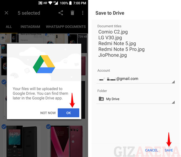 Backup Files to Google Drive Using Files Go App