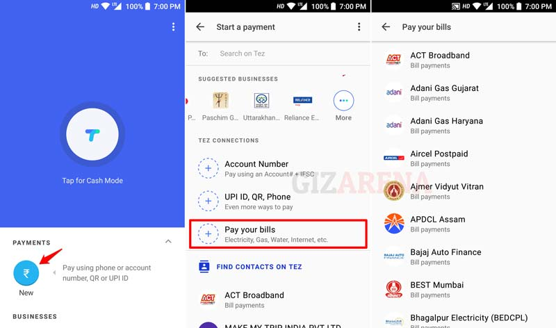 Google Tez App Bill Payments