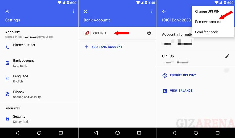 How to delete Bank account from Tez App?