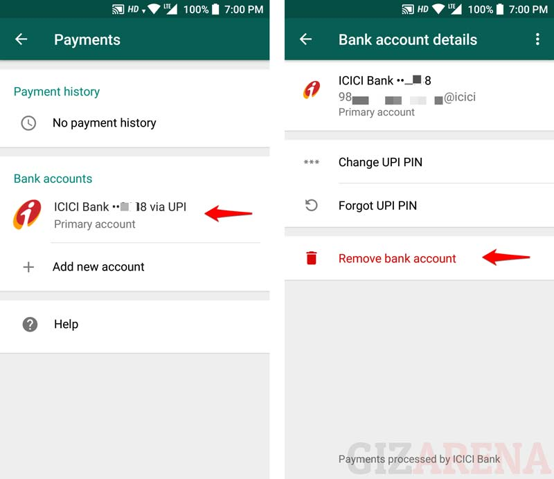WhatsApp Payments Remove Bank